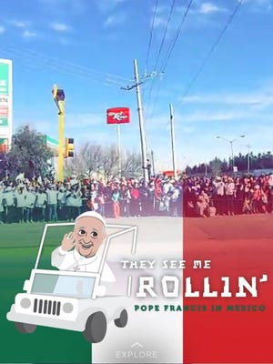 A photo shared via the social media app Snapchat features a special Pope Francis geofilter depicting the pope in his famous popemobile.