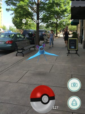 A wild Zubat appeared on the west side of the Grove Arcade downtown.