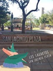 This Snapchat filter is only available in San Jacinto Plaza and has a small image of the Los Lagartos sculpture.