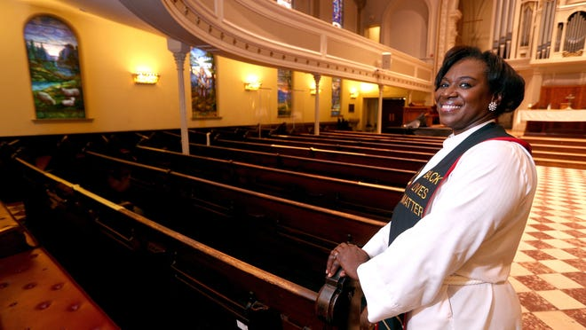 The Rev. Myra Brown is pastor of Spiritus Christi Church in Rochester, where many people had congregated during protests the night of Sept. 5. The rally spilled out into the area around the church.