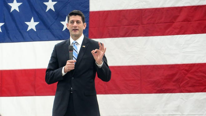 "House Speaker Paul Ryan speaks during a visit to a plastics manufacturer, Friday, Feb. 19, 2016, in New Berlin, Wis. Ryan dismissed criticism from Donald Trump, saying if he responded to every comment from the Republican presidential candidate, ""I''d lose my voice."""