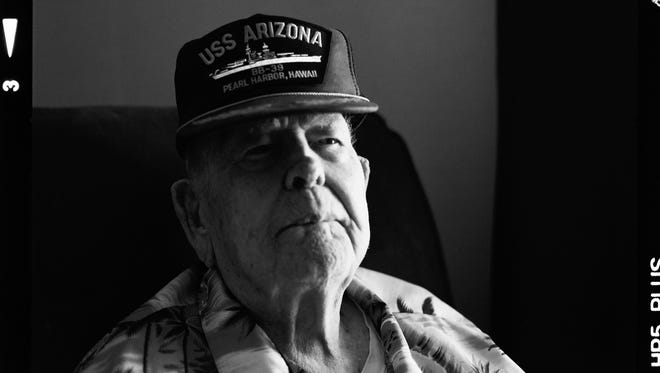 Clarendon Hetrick escaped the USS Arizona in 1941 and served in the Navy and then the Air Force. He is shown in 2014.