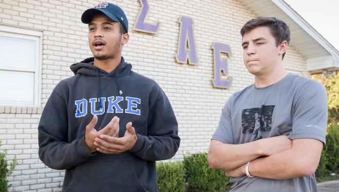 Sigma Alpha Epsilon brothers Joey White, left, and Mitchell Brooks talk about Greek Life at the University of West Florida on Monday, November 13, 2017.