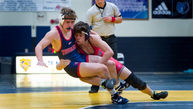 Comeaux's Dylan Ames, right, as well as Teurlings Catholic's Charles Travosos, are hoping to increase their standing for the state tournament next month at this weekend's Louisiana Classic wrestling tournament in Baton Rouge.
