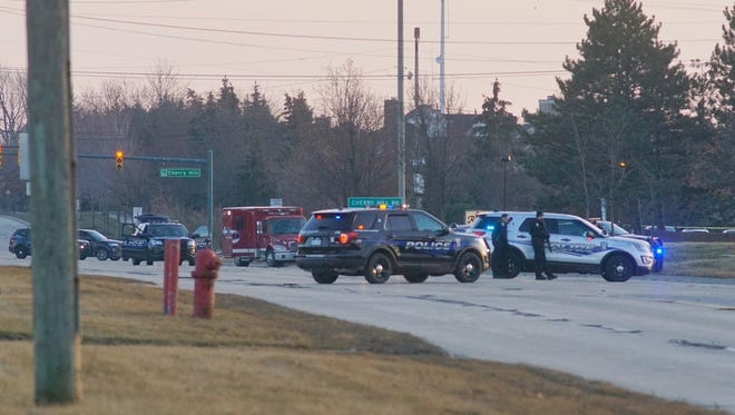 Canton police blocked off roads as the attempted bank robbery unfolded Thursday.