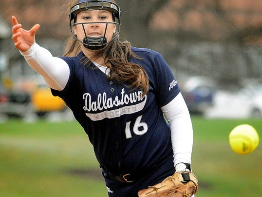 Dallastown's Jaelynn Harbold delivers to a West York batter in the first inning at West York on Wednesday. Harbold pitched a one-hitter and hit a three-run homer in the 15-0 Wildcats win.
