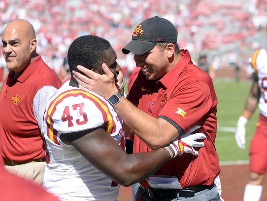 Iowa State Cyclones head coach Matt Campbell and and