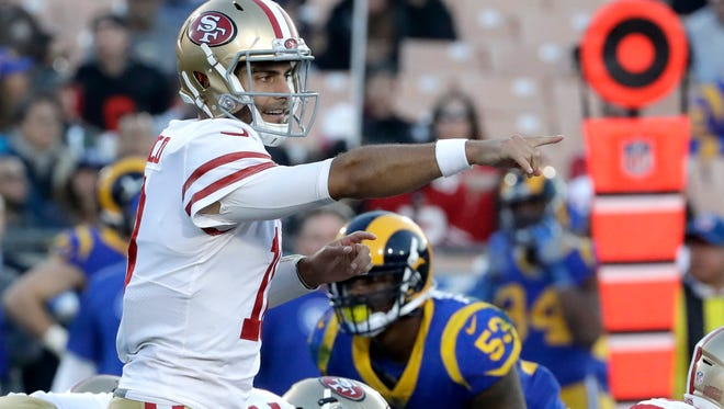 San Francisco 49ers quarterback Jimmy Garoppolo against the Los Angeles Rams during the first half Dec. 31, 2017, in Los Angeles.