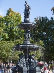A full view of the Taylor Park Fountain in St. Albans. St. Albans residents cheered as water flowed through the fountain once again on Oct. 3. Civil engineer, Rotarian and lifelong St. Albans resident Peter Garceau will receive the Tim Bovat Civic Involvement Award for his work on the fountain restoration project.