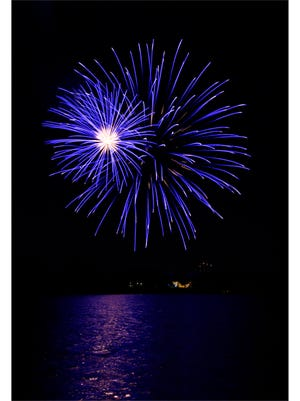Fireworks explode in the night sky over the Grover Nelson Park lake Thursday. Thousands lined the park, the Taylor County Expo Center, Shotwell Stadium, as well as neighborhoods and streets for blocks in all directions to see the WesTex Connect Fireworks Spectacular.