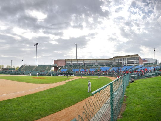 Augustana plays St. Cloud State in the NSIC baseball playoffs Thursday, May 10, at Sioux Falls Stadium. This photo was created from a series of images.