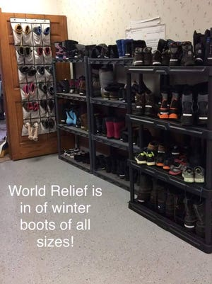 World Relief Fox Valley is collecting winter boots of all sizes for families and individuals they resettle. Drop off new or lightly used boots at its office, 115 Washington Ave. in Oshkosh, 9 a.m. - 4 p.m. Monday-Thursdays and 9 a.m. - noon on Fridays.