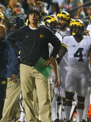 Michigan Wolverines head coach Jim Harbaugh on the sidelines during their game against the Rutgers Scarlet Knights at High Points Solutions Stadium.
