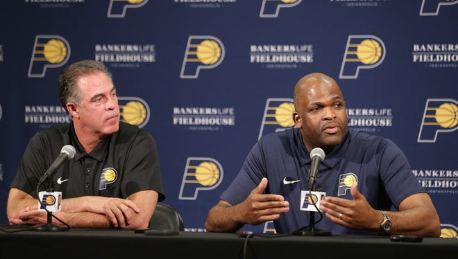 Kevin Pritchard, General Manager of the Pacers, and head coach Nate McMillan talk about their team going forward, after their first-round playoff exit, Tuesday, May 1, 2018.