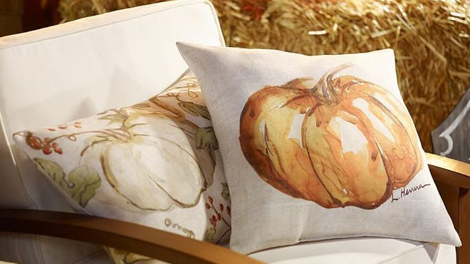 Freshen up outdoor spaces with fall pillows from Pottery Barn.