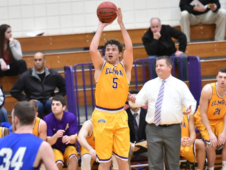 Elmira College senior forward Hayden Harkins shoots