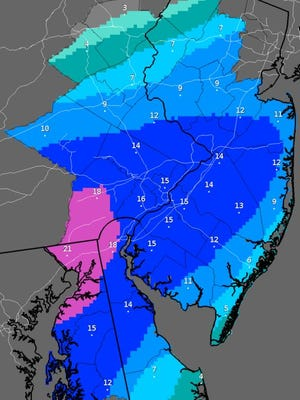 Likely snowfall predictions, in inches, as of Friday morning.