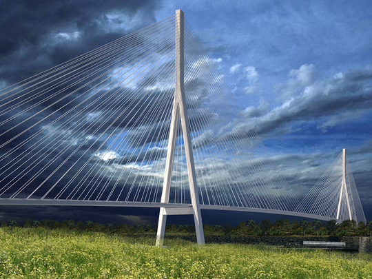Rendering shows a possible configuration of the planned Gordie Howe International Bridge.