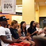 Students listen about the new Barnes and Noble Textbook Scholarship and the University's Quality Enhancement Plan at Southern Miss on Wednesday. The Eagles Engaged program will help the academic performance of students in career-related opportunities.