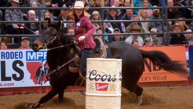 Becky Fuson of Conrad won the barrel racing Friday night at the Montana Pro Rodeo Circuit Finals.