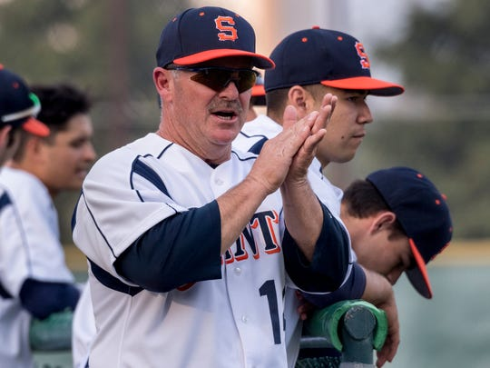 College of the Sequoias' Head Coach Jody Allen encourages his players in their game against Golden West College on Thursday, February 1, 2018.