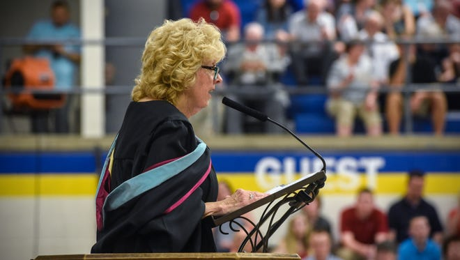 Cathedrall High School principal Lynn Grewing speaks during the Friday, May 25, graduation ceremony in St. Cloud.