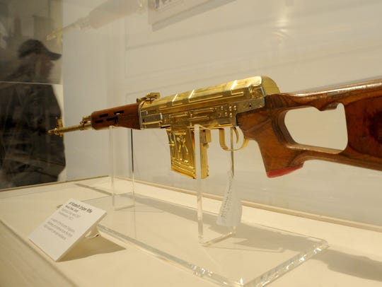 This gold-plated sniper rifle from Uday Hussein's palace is on display at the U.S. Navy Seabee Museum in Port Hueneme.