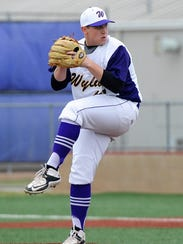 Wylie pitcher Blake Smith (45) goes through his windup
