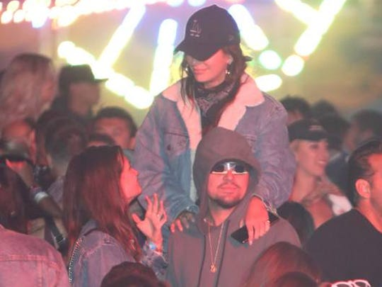 Going Incognito, Leonardo DiCaprio at the Levi's® Brand Presents NEON CARNIVAL with Tequila Don Julio on April 14, 2018 in Thermal.