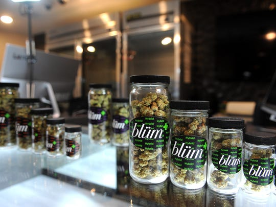 A selection of products are seen at Blum Medical Marijuana Dispensary in Reno on Dec. 29, 2016.