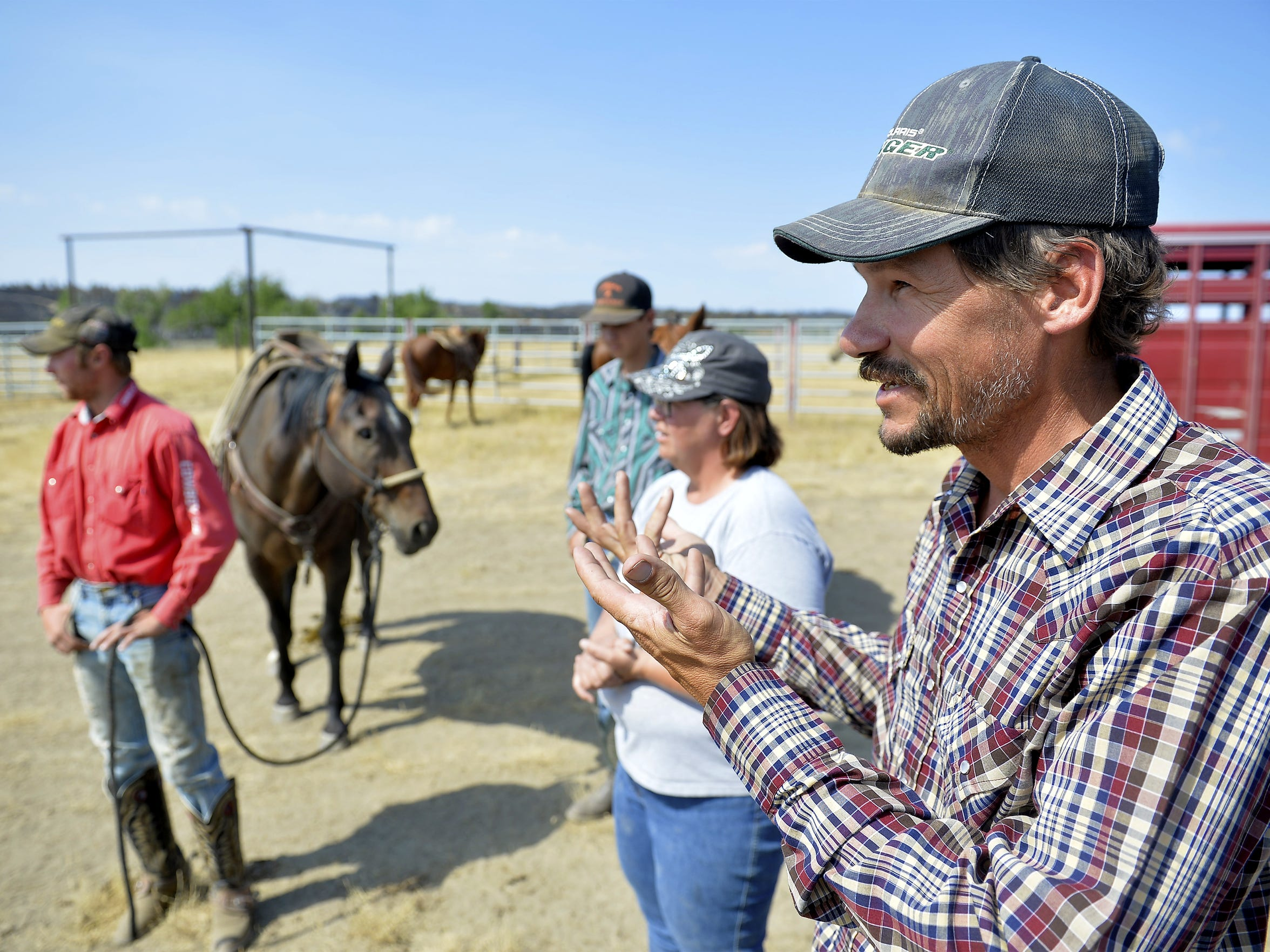 Matt Bliss talks about battling the Lodgepole Complex fire on his ranch in Sand Springs, Mont.