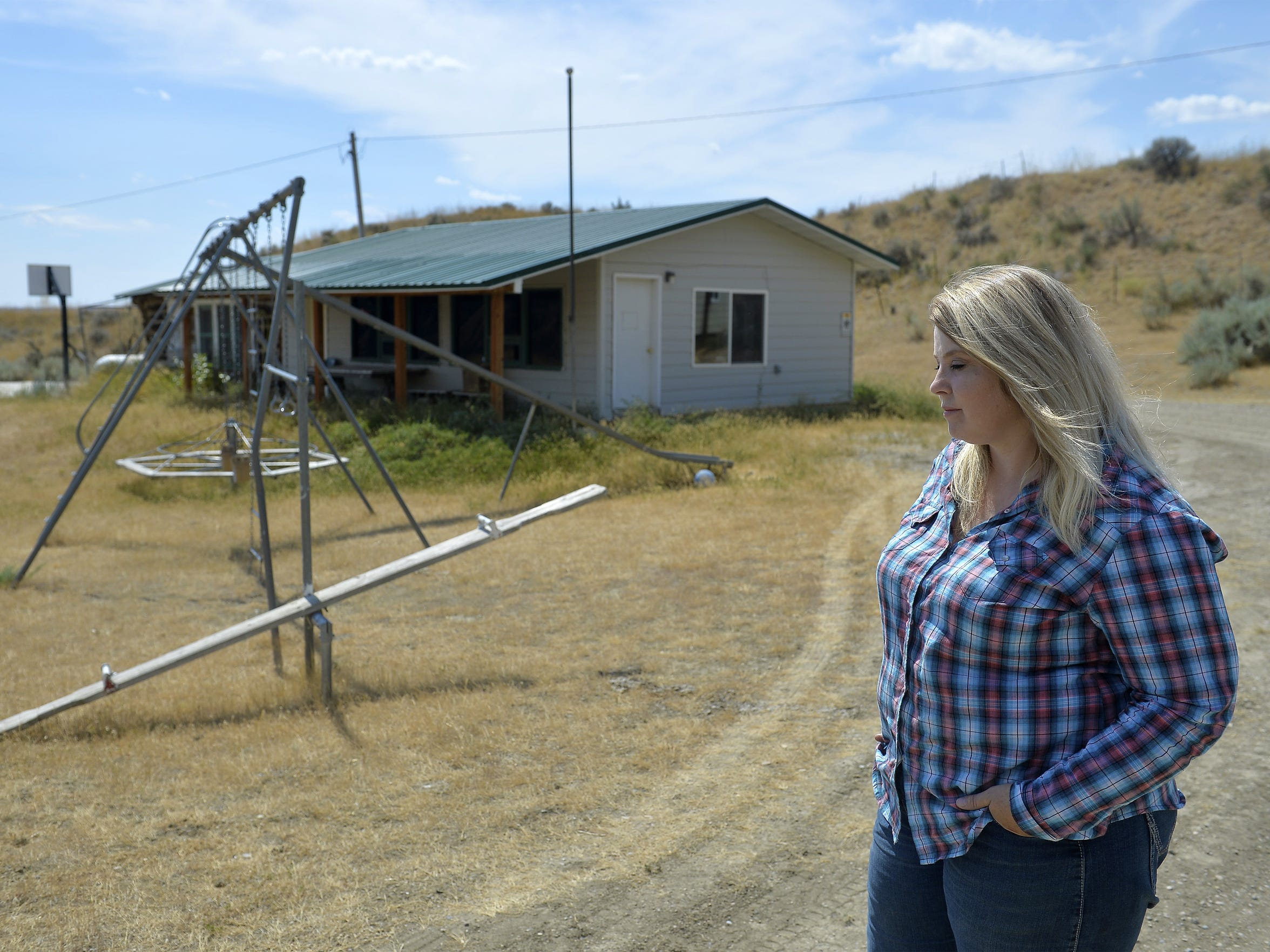 Alaina Browning talks about the Ross School house where her daughter and one other girl go to school.  The Lodgepole Complex Fire burned over 250,000 acres in Garfield and Petroleum Counties.