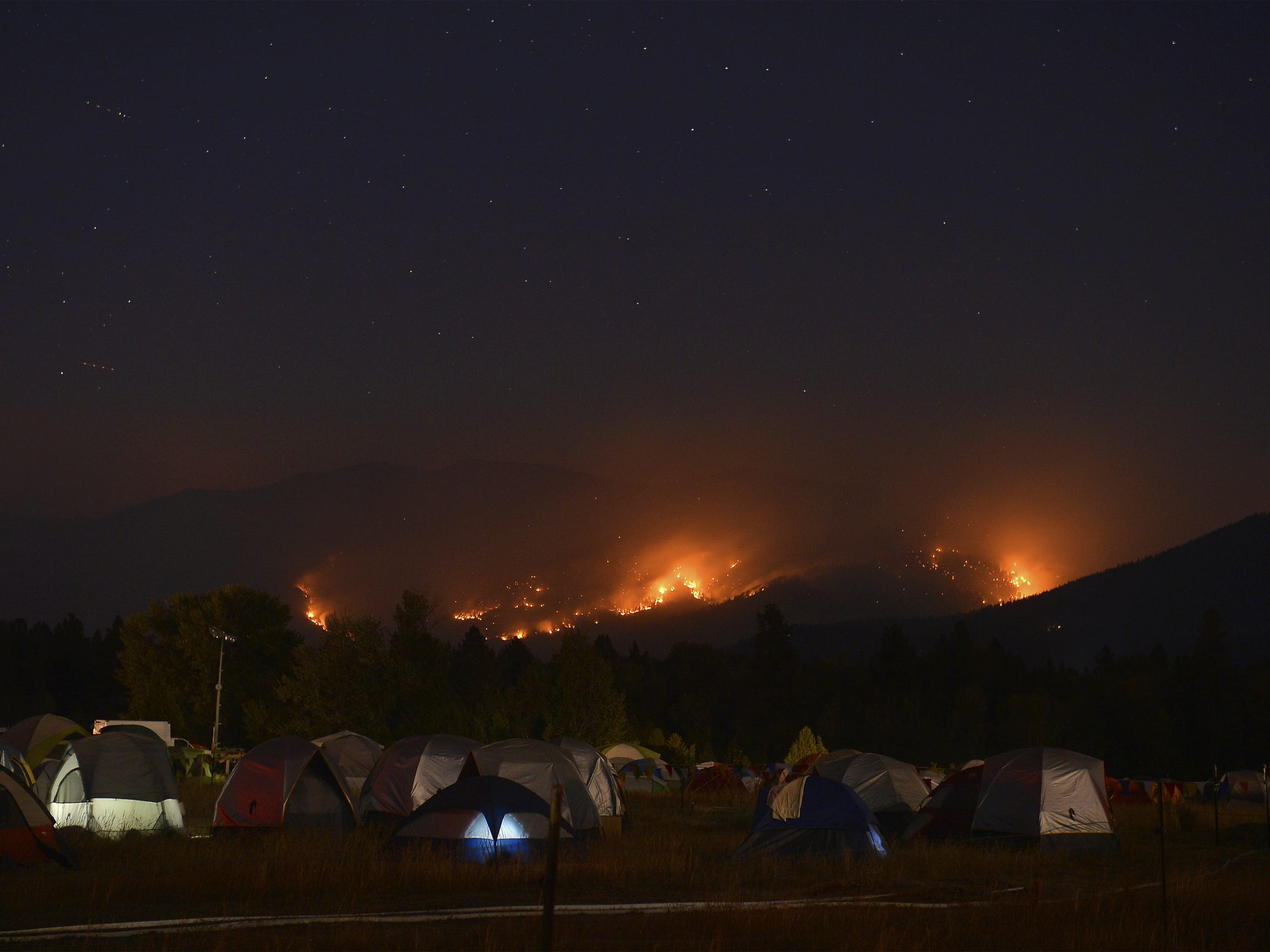 Fire camp at in Seeley Lake as the Rice Ridge Fire continues to threaten the town.