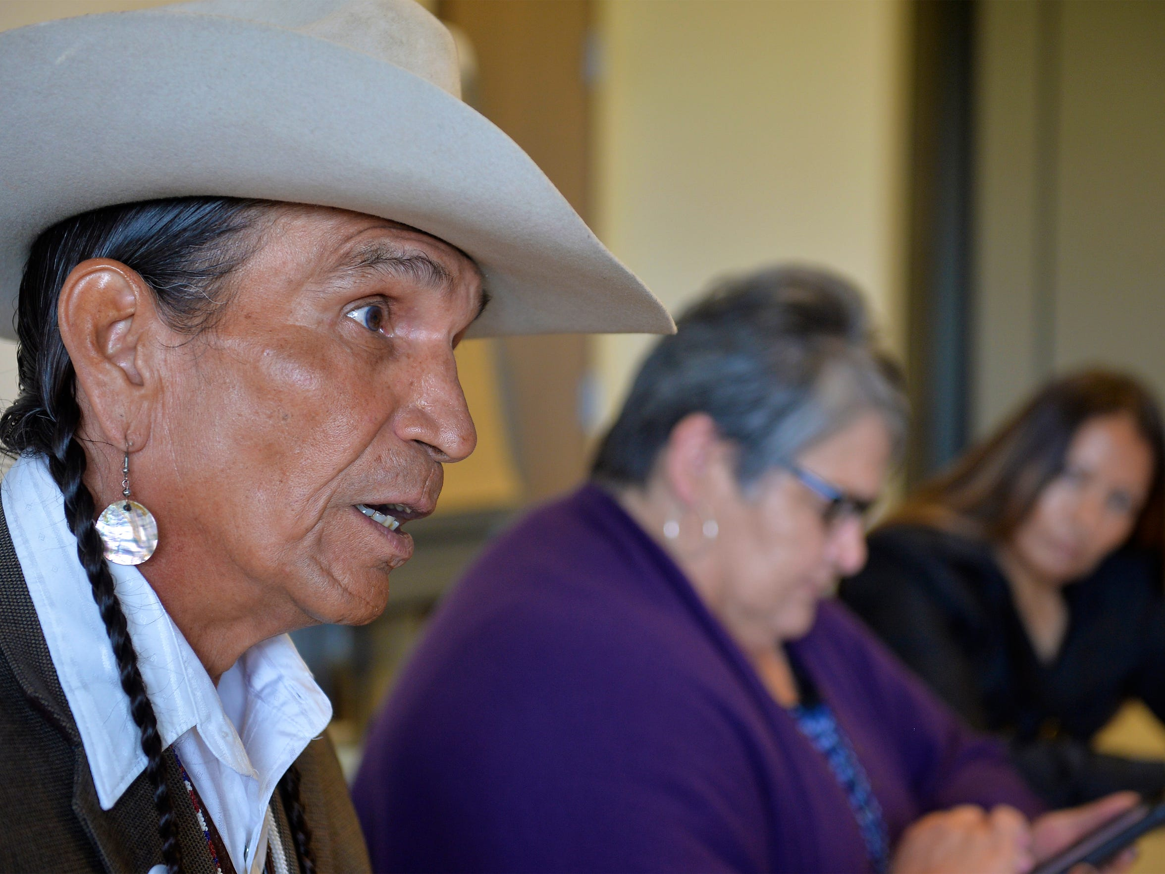 """Fort Peck Tribes' board member Tommy Christian talks about the 2013 """"wino-roundup"""" at tribal headquarters in Poplar, September 25, 2017."""