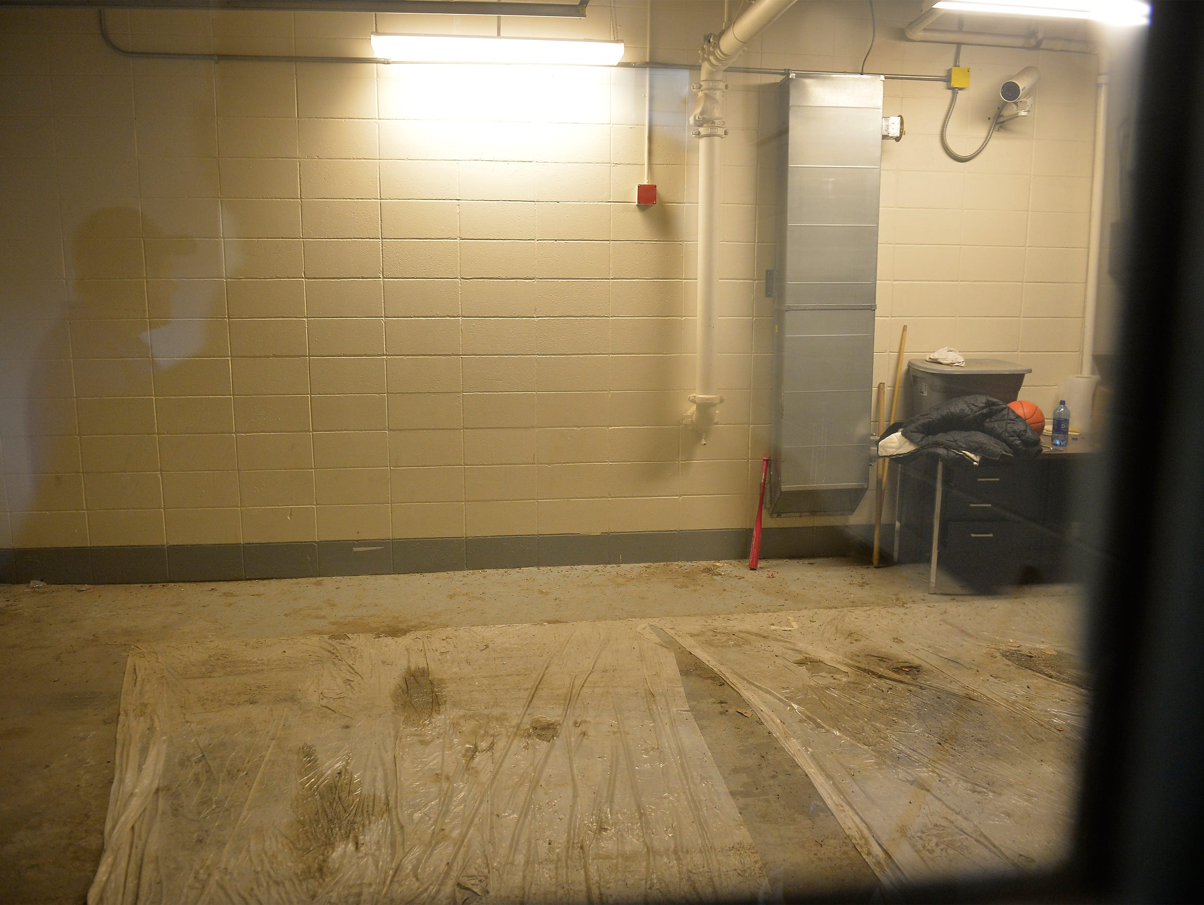 Sally port or garage in  the old Fort Peck tribal jail