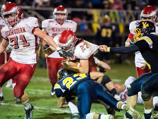 Bermudian Springs' Ryan Curfman (27) runs with the ball during play Littlestown on Oct. 27, 2017. The Eagles fell 20-17.