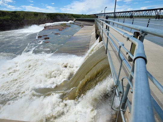 The Missouri River at Rainbow Dam is flowing at about