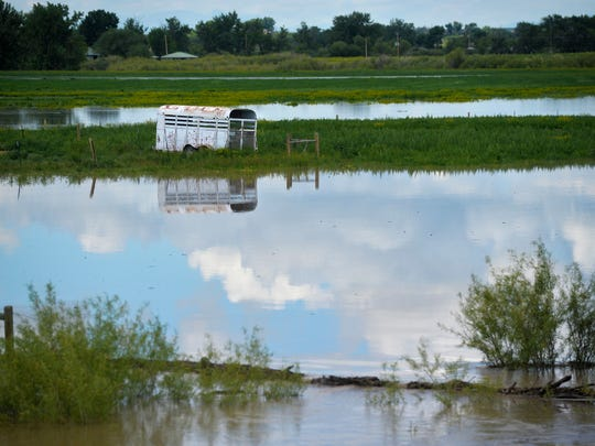 The Sun River floods pastures south of Vaughn, Mont. on Wednesday.  The Sun River crested at 10.7 feet on Tuesday causeing causing moderate flooding from Sims to Great Falls.