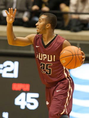 IUPUI Jaguars guard P.J. Boutte, shown here Nov. 16 vs. Purdue, hit the game-winner against Ball State on Saturday.