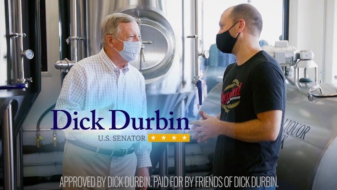 Sen. Dick Durbin talks with Engrained Brewery owner Brent Schwoerer in an advertisement for his reelection campaign.