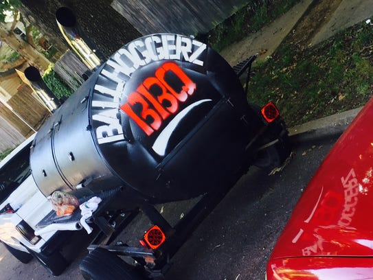 A look at the logo on the back of the stolen barbecue