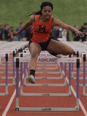 Mansfield Senior's Alaya Grose, competing here in last week's Ohio Cardinal Conference meet, won a Division I district title in the 100 hurdles Friday at Tiffin Columbian.