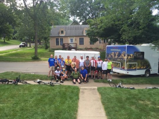 Team Foley Boys pictured together for RAGBRAI. The team's leader, James Foley, was hit by a truck in Shenandoah.