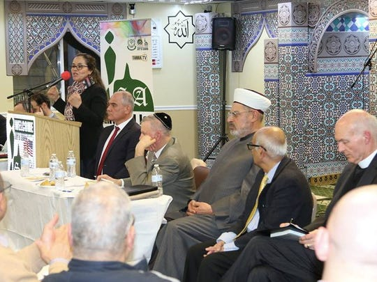 Panelists at a recent symposium on the Israeli-Palestinian conflict at Masjid Isa Ibn Maryam in Newark.