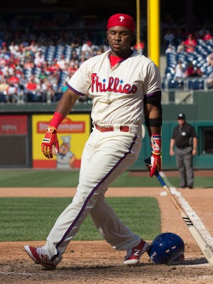 Phillies third baseman Maikel Franco reacts after striking out in the seventh inning against the Arizona Diamondbacks June 18 at Citizens Bank Park. Franco has some of the worst numbers among third basemen in the majors.