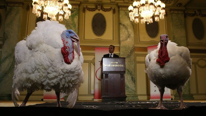 "Jihad Douglas, chairman of the National Turkey Federation, introduces two turkeys during a media availability at the Willard Inter Continental Hotel ahead of their ""pardon"" by President Obama at the White House on Nov. 24, 2015."