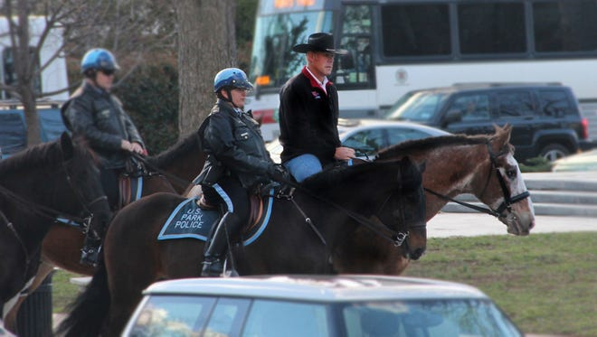 Interior Secretary Ryan Zinke arriving for his first day of work at the Interior Department in Washington, Thursday, March 2, 2017, aboard Tonto, an 17-year-old Irish sport horse.