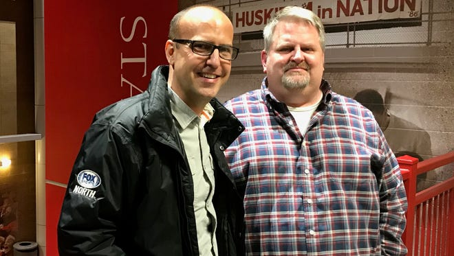St. Cloud State University alums Matt Gangl (left) and Bill Nelson were on hand for the 25th anniversary celebration for Husky Productions on Nov. 18 at the Herb Brooks National Hockey Center. Gangl, who works for FOX Sports North, will direct the 2018 Hockey Day Minnesota brodcast that will take place in January in St. Cloud.