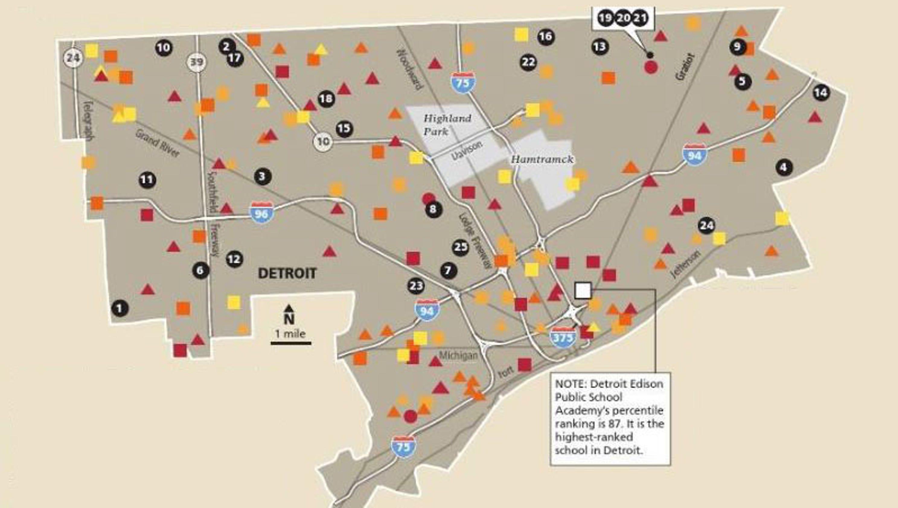 this map shows how few choices parents have if detroit schools close