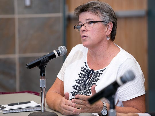 Connie Monahan of the New Mexico Coalition of Sexual Assault Programs talks about the backlog of sexual assault kits that need to be tested in New Mexico on Wednesday during a meeting at the Farmington Civic Center.